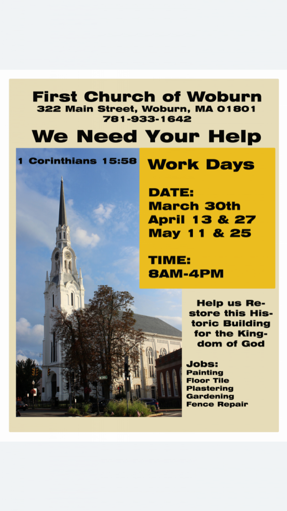 First Church of Woburn spring clean-up days